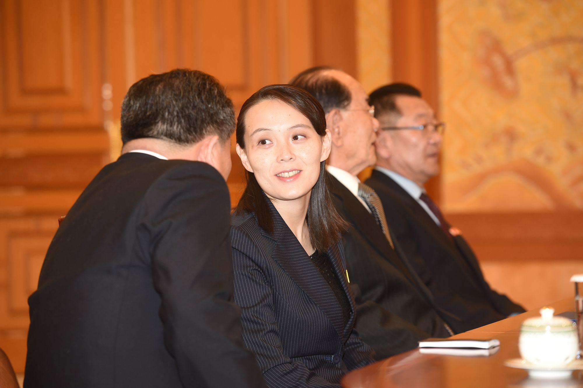Kim Yo-jong ahead of a meeting with South Korean President Moon Jae-in