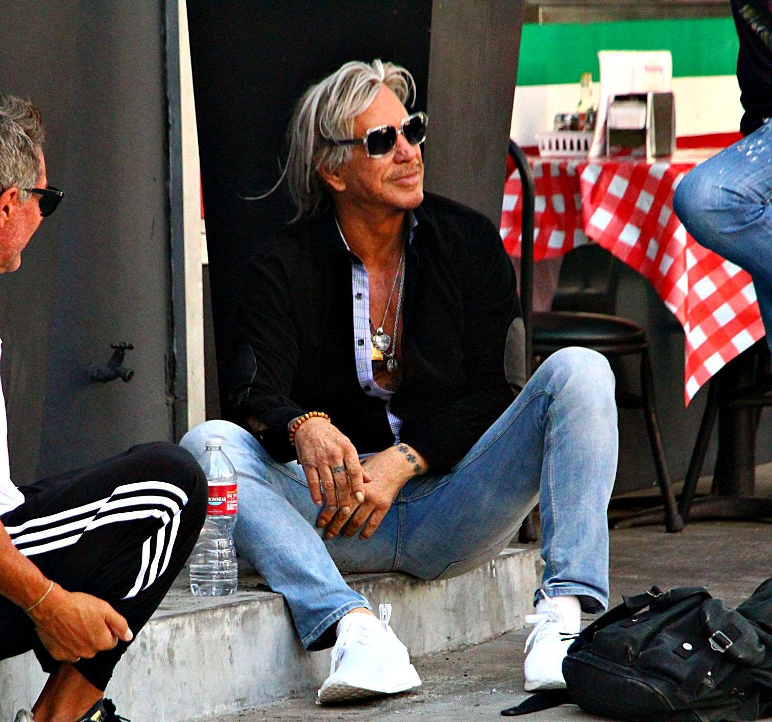 Mickey Rourke Seen Sitting On Sidewalk Talking to Pals
