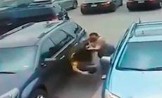 VIDEO | O femeie și un bărbat s-au luat la bătaie într-o parcare. De la ce a pornit scandalul