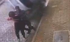 VIDEO | Un bărbat și-a salvat iubita din fața unei mașini scăpate de sub control. Imagini șocante