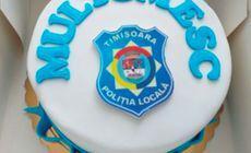 Poliția Locală Timișoara a primit un tort personalizat cu siglă. Laude din partea unei localnice