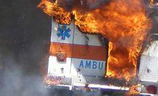 O ambulanță a luat foc după ce s-a întors dintr-o misiune! Ce s-a întâmplat