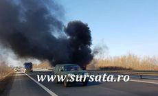 Incendiu pe A1, la kilometrul 26. Traficul a fost blocat spre Pitești, după ce o autoutilitară a luat foc la Bolintin-Deal