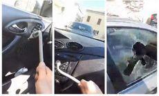 """Un român din Italia și-a distrus mașina cu levierul după ce i-a fost confiscată de polițiști. Momentul, transmis live pe Facebook. """"Ia, Salvini, mașină!"""""""