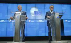 """Momente amuzante în conferința lui Tusk și Juncker despre amânarea Brexitului: """"Nu mergeți în Iad!"""""""