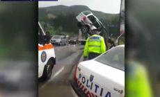 Mașina suspendată pe un pod din Suceava, după un accident. Explicațiile șoferiței