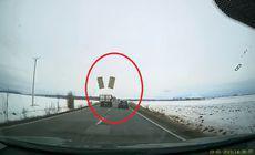 Se putea produce un accident în lanț. Scenele surprinse de un șofer cu o cameră de bord. VIDEO