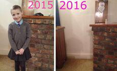 Poze facute in prima zi de scoala, 2015 si 2016.In a doua lipseste ceva.Explicatia mamei