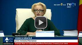 """VIDEO/ Dublă gafă a premierului. Viorica Dăncilă a spus """"antrepreșcolar"""" și """"abrogare"""" în loc de """"adoptare"""""""