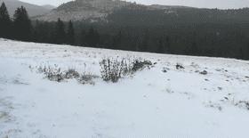 Primele imagini cu ninsoarea ca în miez de iarnă din Munții Bucegi. Stratul de zăpadă are deja câţiva centimetri