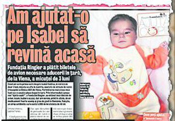 Pentru a evita complicaţiile, Isabel are nevoie de 600 de lei pentru un vaccin