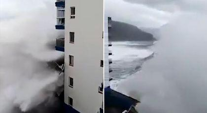 Valuri devastatoare în Tenerife: momentul în care izbesc balcoanele unui hotel