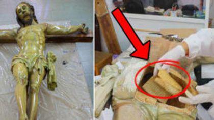 Secretul descoperit într-o statuie a lui Iisus. Se așteptau doar s-o curețe și au dat peste...