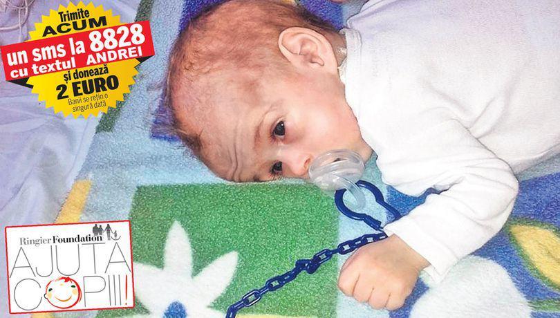 La nouă luni, cântăreşte cât la naştere | Micuţul Andrei Curceanu se pregăteşte pentru singura intervenţie care îi mai poate salva viaţa