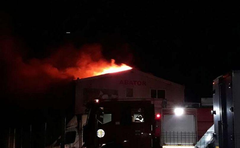 VIDEO/ Incendiu puternic la un abator din apropiere de Ploiești, în apropiere de un rezervor cu GPL