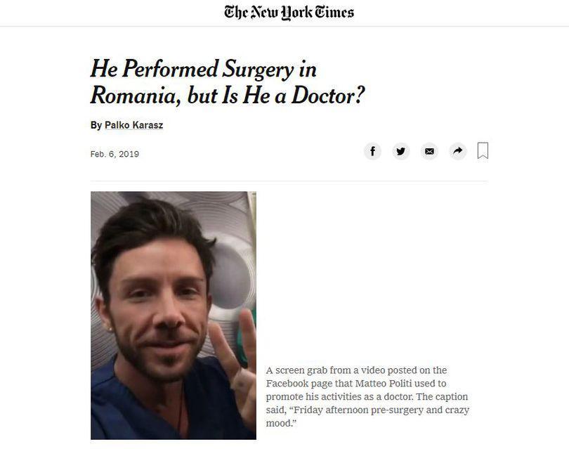 The New York Times: Tabloidul popular Libertatea a dezvăluit cum un doctor fals a operat în România